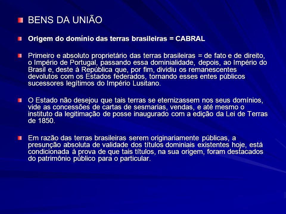 BENS DA UNIÃO Origem do domínio das terras brasileiras = CABRAL