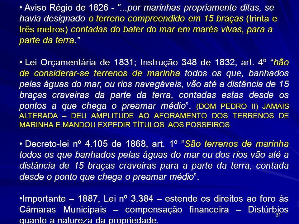 Aviso Régio de 1826 - ...por marinhas propriamente ditas, se havia designado o terreno compreendido em 15 braças (trinta e três metros) contadas do bater do mar em marés vivas, para a parte da terra.