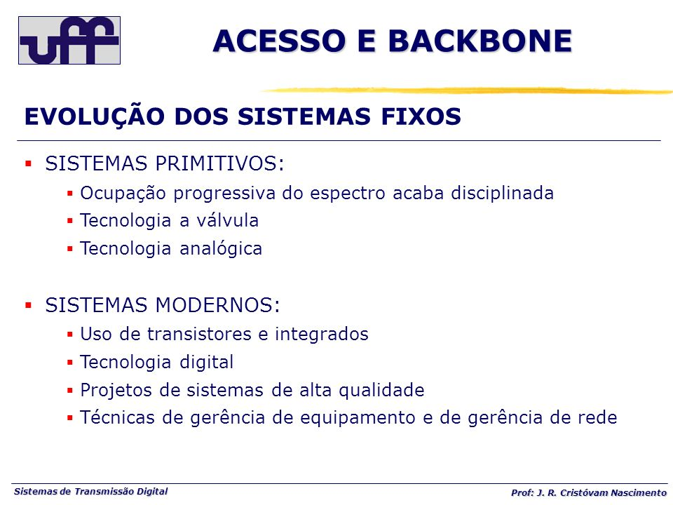 ACESSO E BACKBONE EVOLUÇÃO DOS SISTEMAS FIXOS SISTEMAS PRIMITIVOS:
