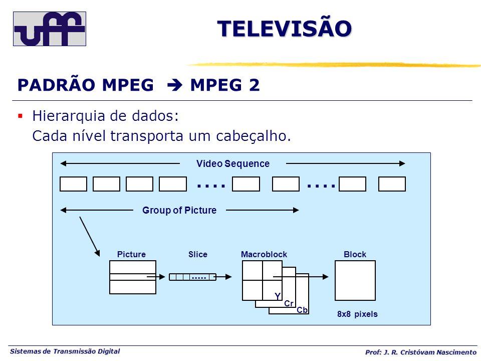 .... TELEVISÃO PADRÃO MPEG  MPEG 2 Hierarquia de dados: