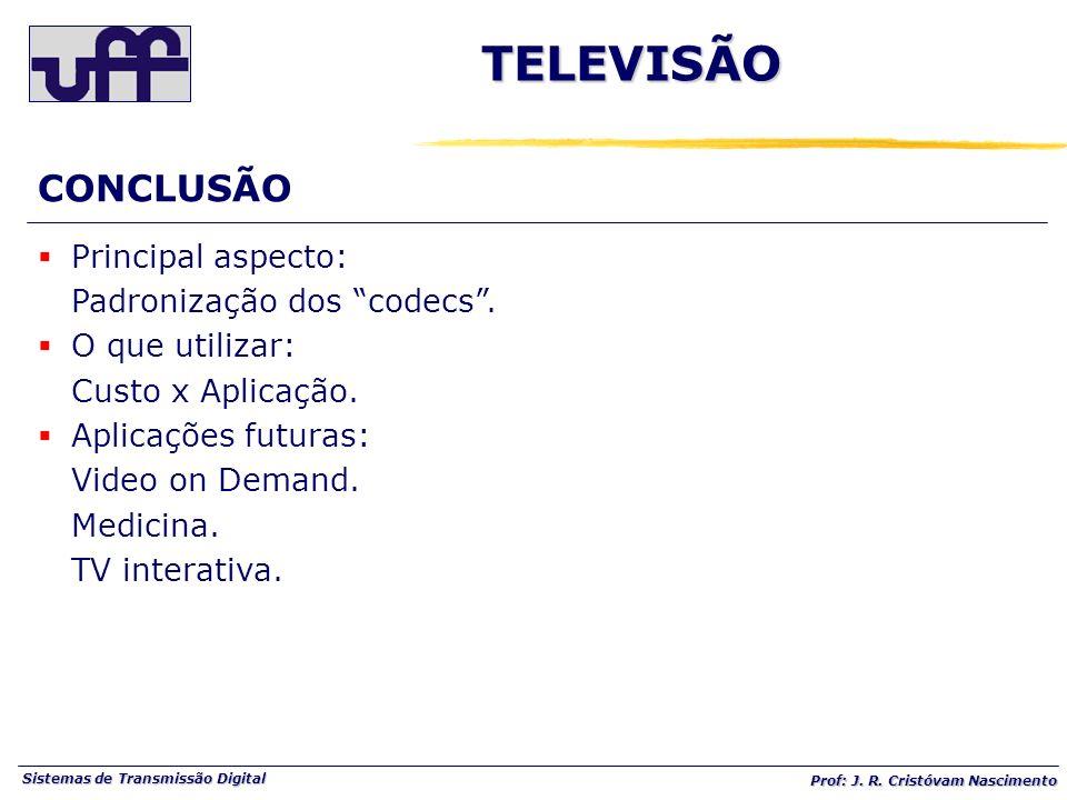 TELEVISÃO CONCLUSÃO Principal aspecto: Padronização dos codecs .