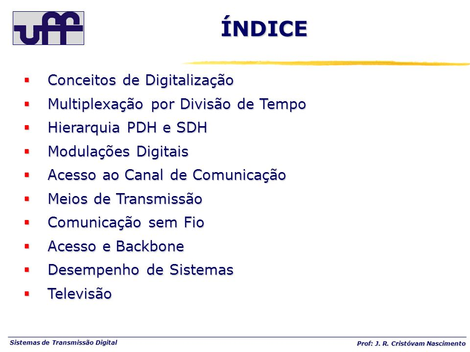 ÍNDICE Conceitos de Digitalização Multiplexação por Divisão de Tempo