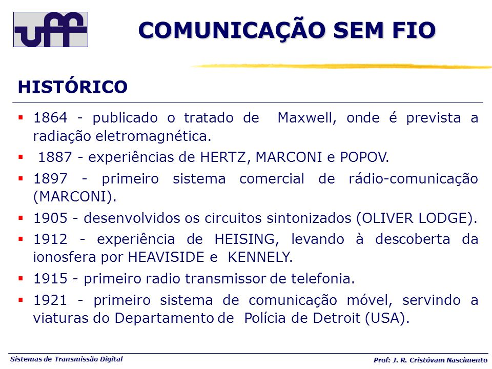 COMUNICAÇÃO SEM FIO HISTÓRICO