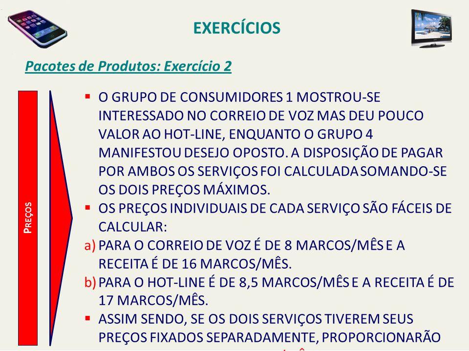 EXERCÍCIOS Pacotes de Produtos: Exercício 2