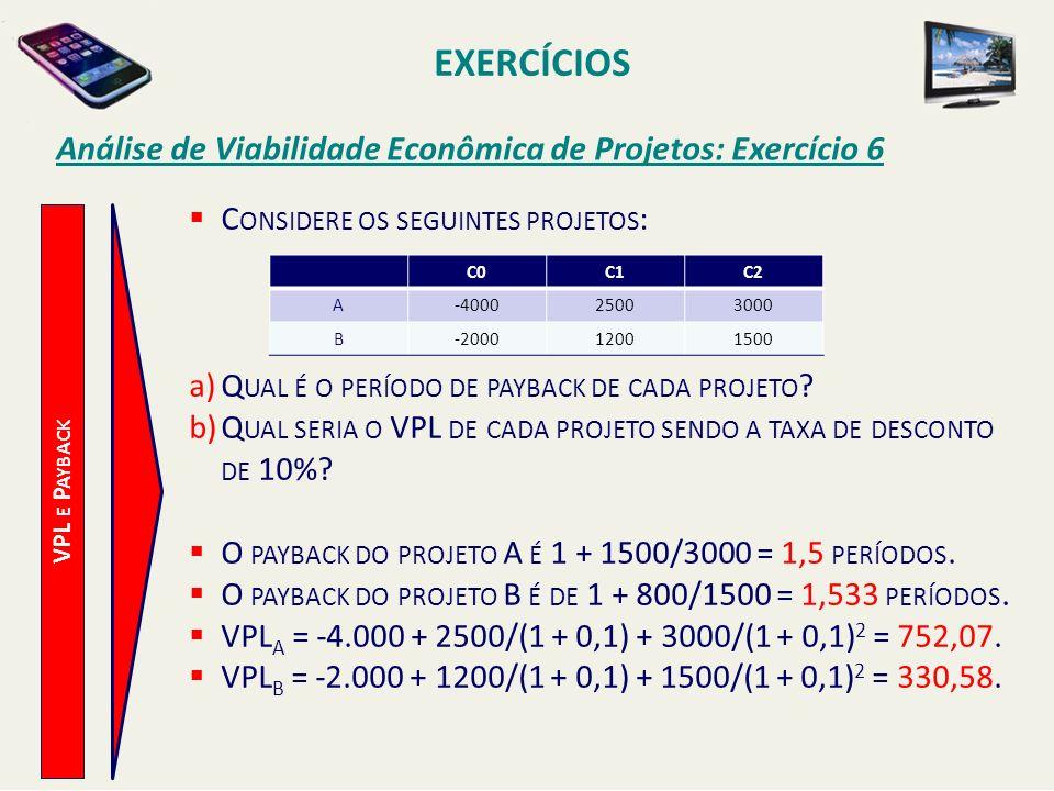 EXERCÍCIOS Análise de Viabilidade Econômica de Projetos: Exercício 6