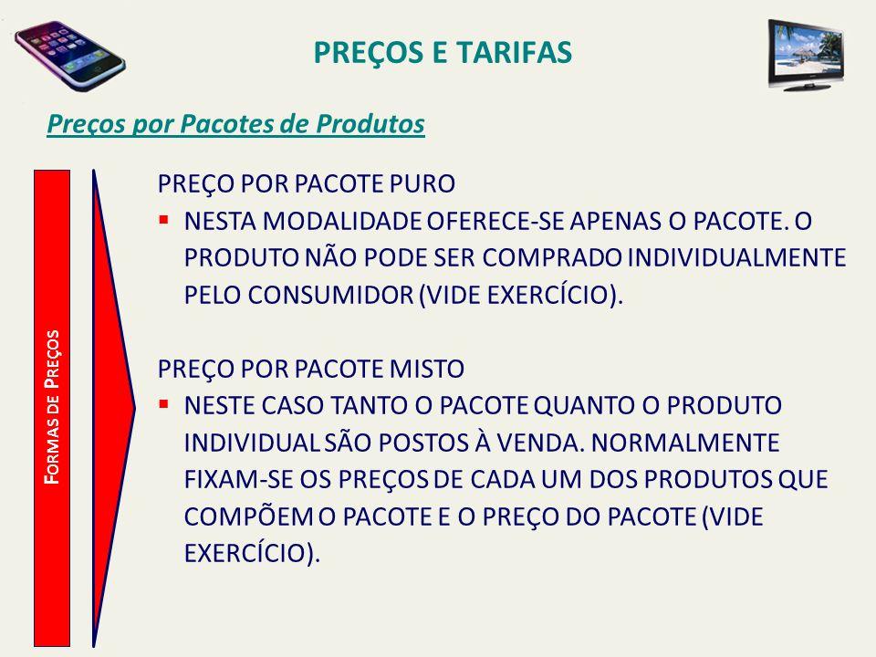 PREÇOS E TARIFAS Preços por Pacotes de Produtos PREÇO POR PACOTE PURO