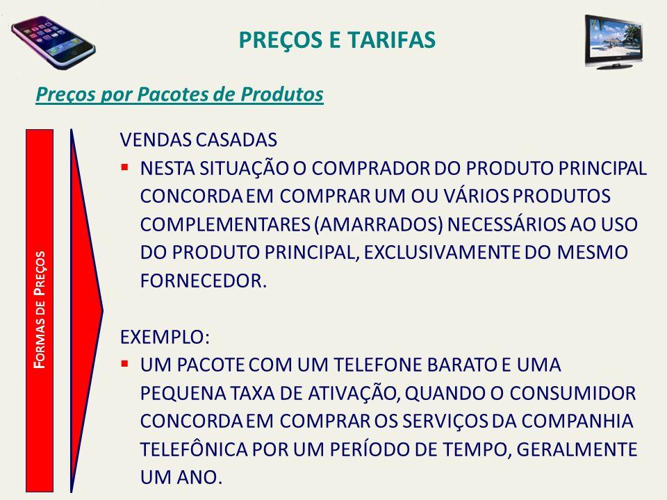PREÇOS E TARIFAS Preços por Pacotes de Produtos VENDAS CASADAS