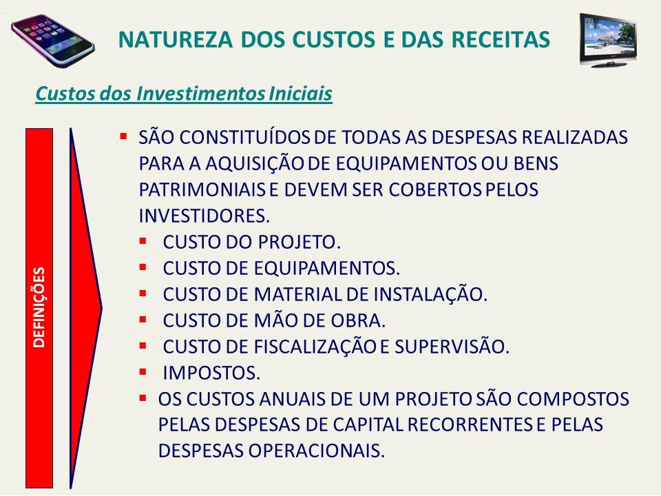 NATUREZA DOS CUSTOS E DAS RECEITAS
