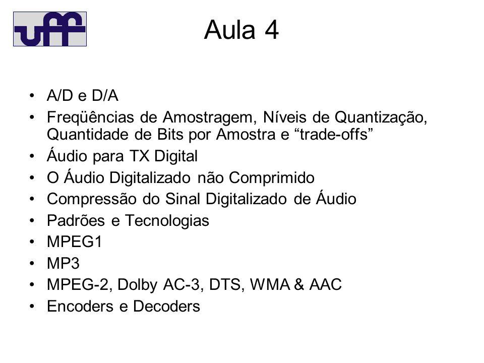 Aula 4 A/D e D/A. Freqüências de Amostragem, Níveis de Quantização, Quantidade de Bits por Amostra e trade-offs
