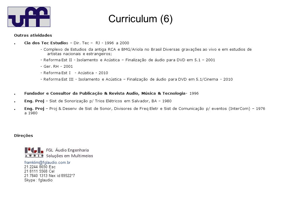 Curriculum (6) Outras atividades