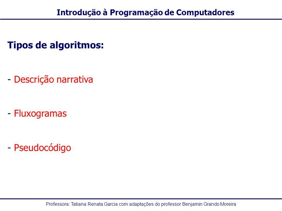 Tipos de algoritmos: Descrição narrativa Fluxogramas - Pseudocódigo