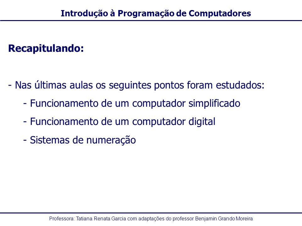 Recapitulando: Nas últimas aulas os seguintes pontos foram estudados: Funcionamento de um computador simplificado.