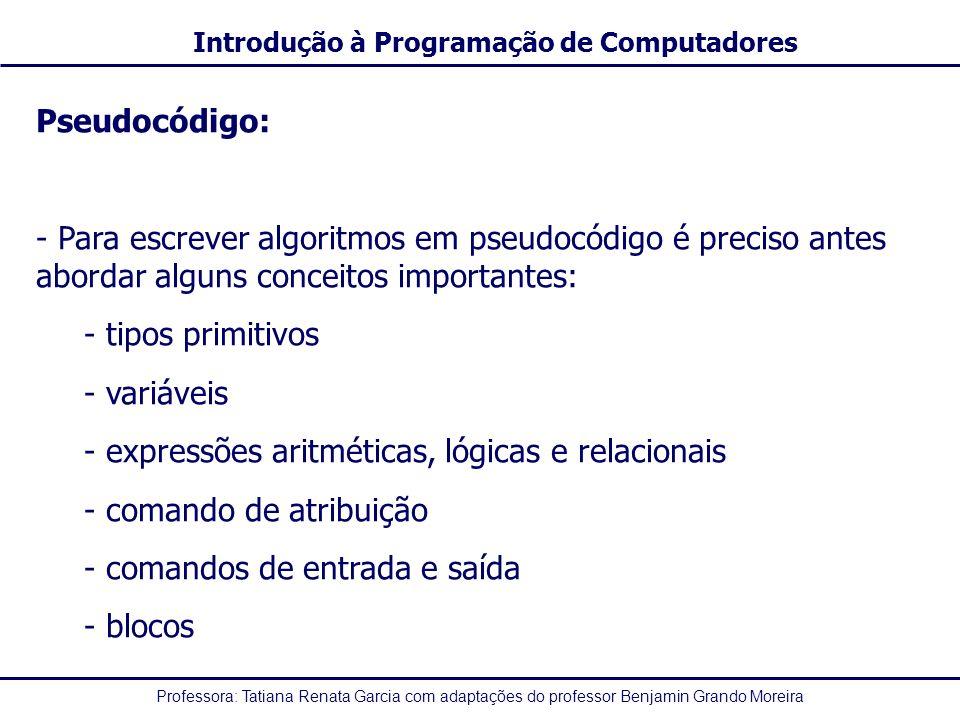 Pseudocódigo: Para escrever algoritmos em pseudocódigo é preciso antes abordar alguns conceitos importantes: