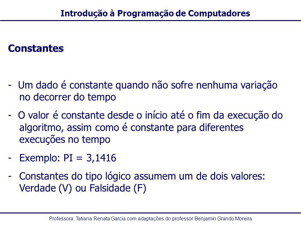 Constantes - Um dado é constante quando não sofre nenhuma variação no decorrer do tempo.