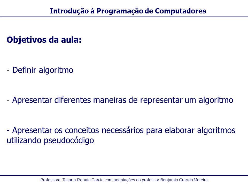 Objetivos da aula: Definir algoritmo. Apresentar diferentes maneiras de representar um algoritmo.