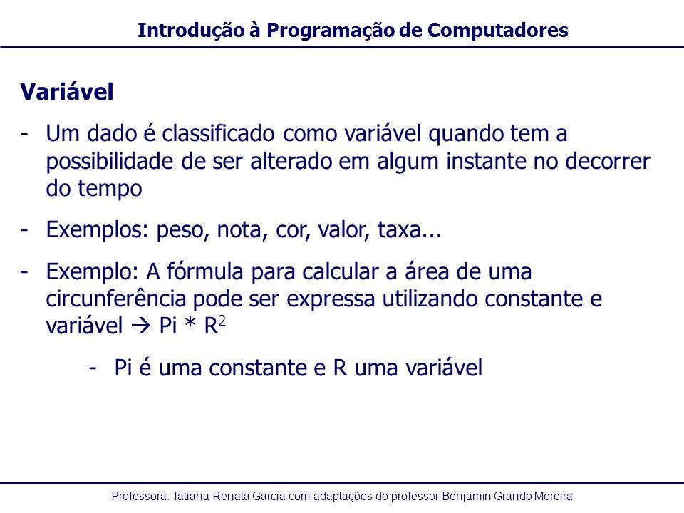 Variável Um dado é classificado como variável quando tem a possibilidade de ser alterado em algum instante no decorrer do tempo.