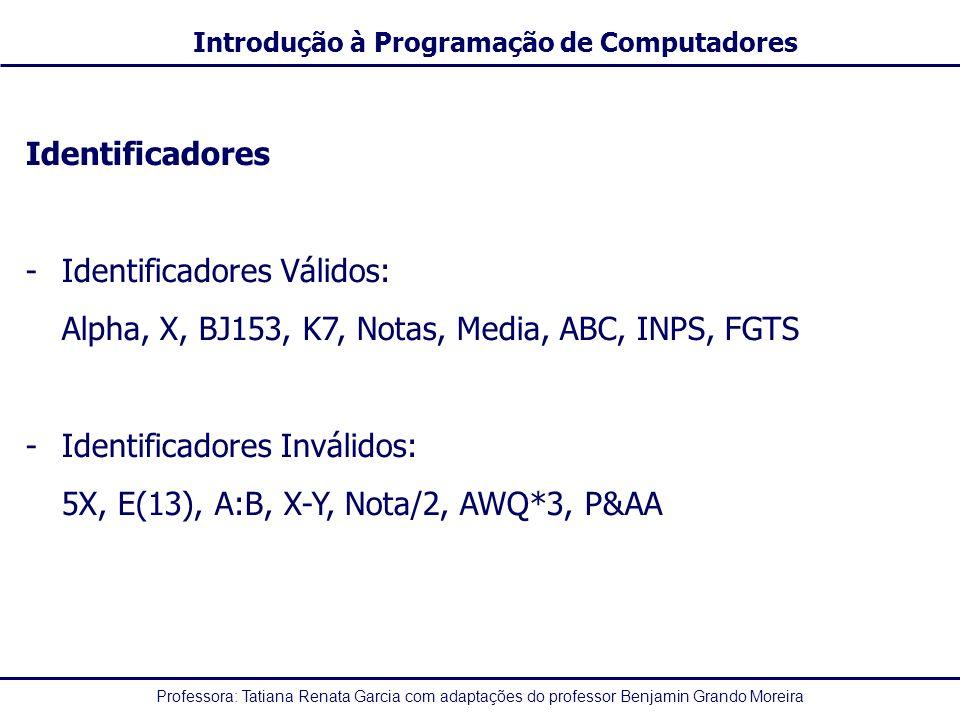 Identificadores Identificadores Válidos: Alpha, X, BJ153, K7, Notas, Media, ABC, INPS, FGTS. Identificadores Inválidos: