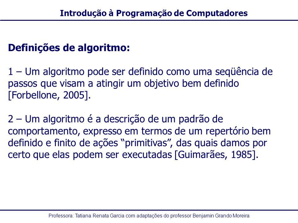 Definições de algoritmo: