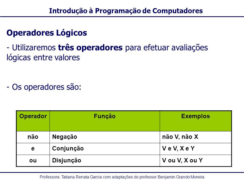Operadores Lógicos Utilizaremos três operadores para efetuar avaliações lógicas entre valores. Os operadores são: