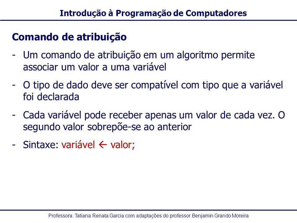 Comando de atribuição Um comando de atribuição em um algoritmo permite associar um valor a uma variável.