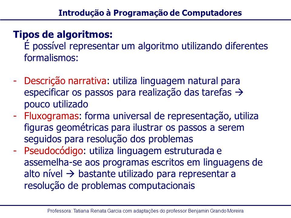 Tipos de algoritmos: É possível representar um algoritmo utilizando diferentes formalismos: