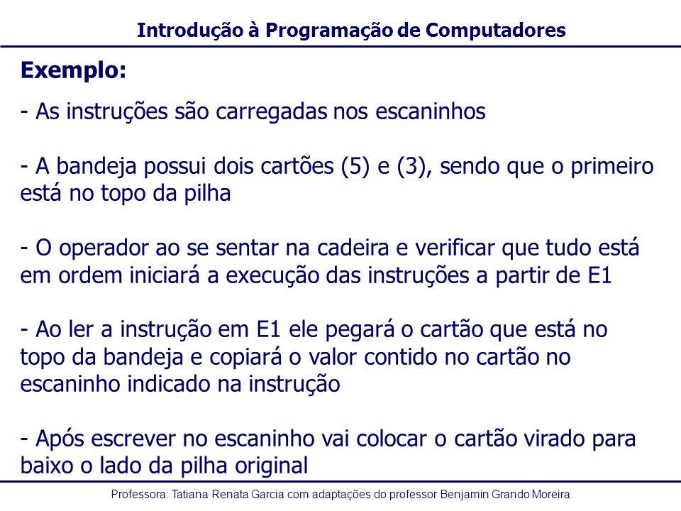 Exemplo: - As instruções são carregadas nos escaninhos. A bandeja possui dois cartões (5) e (3), sendo que o primeiro está no topo da pilha.