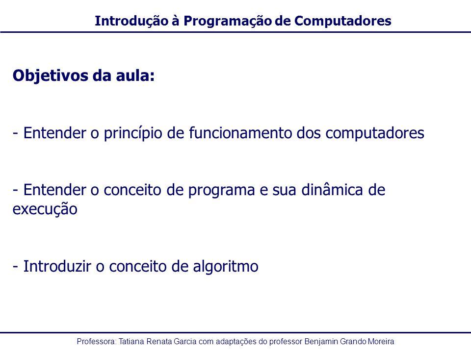Objetivos da aula: Entender o princípio de funcionamento dos computadores. Entender o conceito de programa e sua dinâmica de execução.