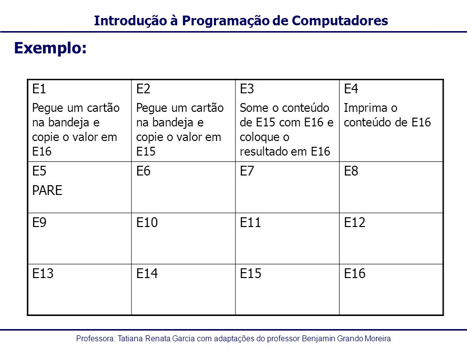 Exemplo: E1 E2 E3 E4 E5 PARE E6 E7 E8 E9 E10 E11 E12 E13 E14 E15 E16