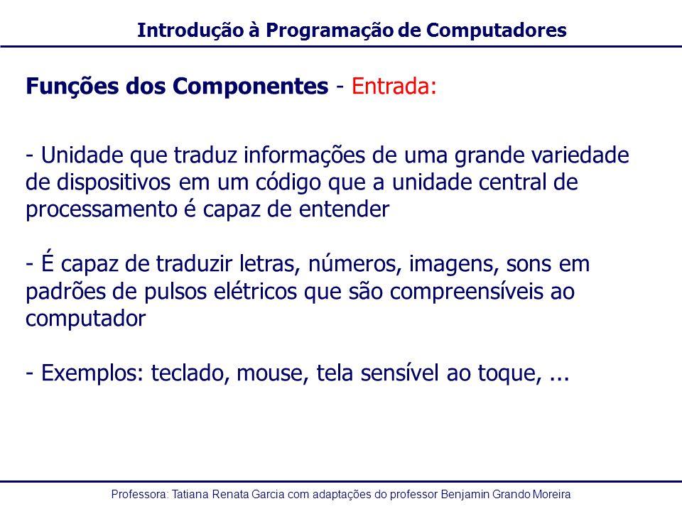 Funções dos Componentes - Entrada: