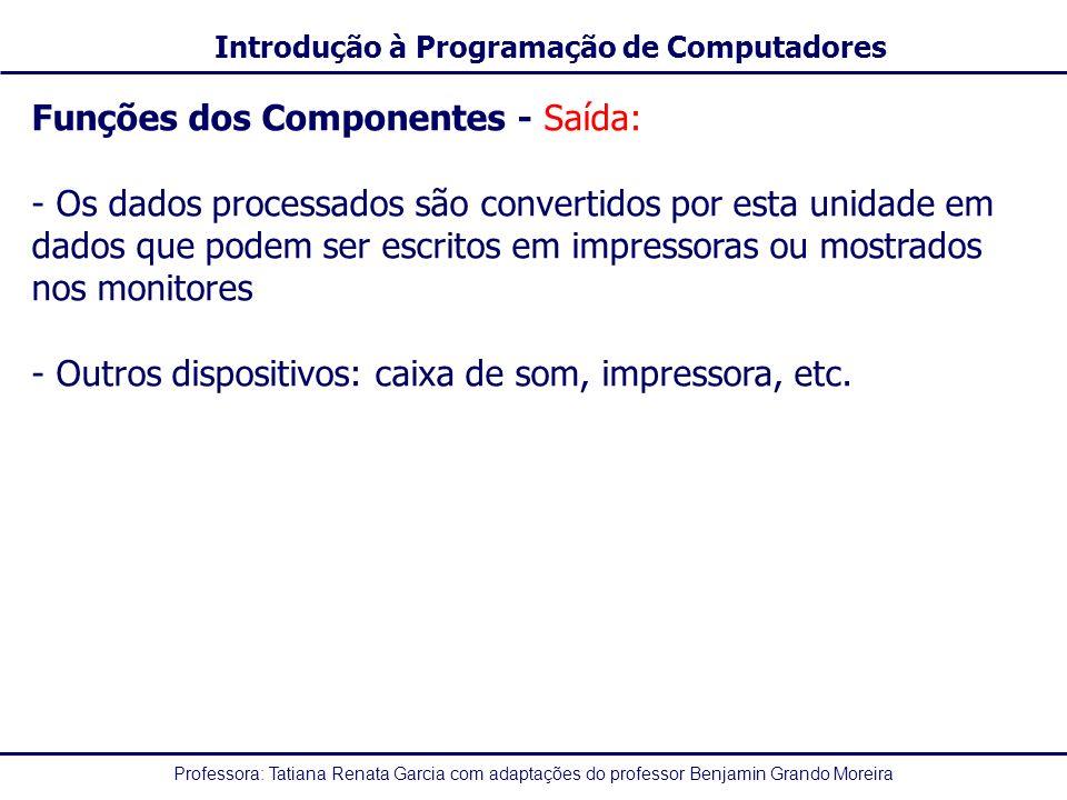 Funções dos Componentes - Saída: