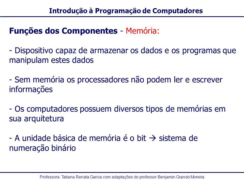 Funções dos Componentes - Memória:
