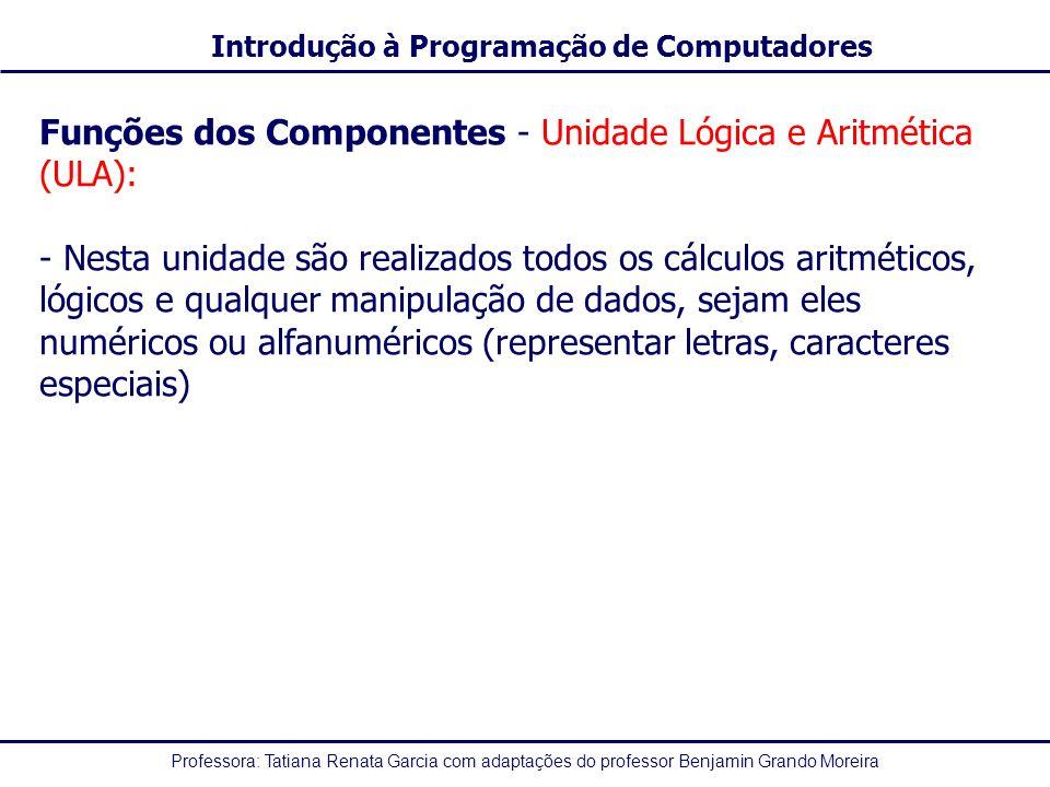 Funções dos Componentes - Unidade Lógica e Aritmética (ULA):