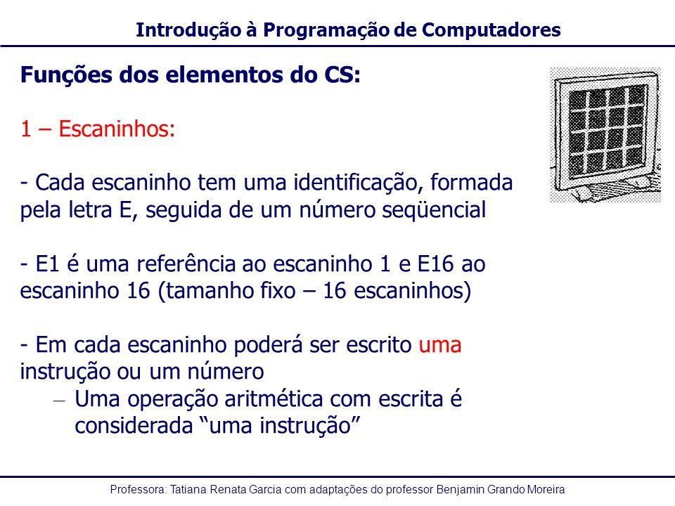 Funções dos elementos do CS: