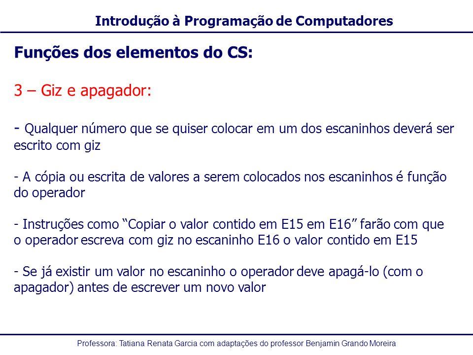Funções dos elementos do CS: 3 – Giz e apagador: