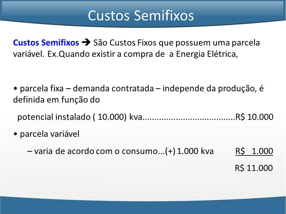 Custos Semifixos Custos Semifixos  São Custos Fixos que possuem uma parcela variável. Ex.Quando existir a compra de a Energia Elétrica,