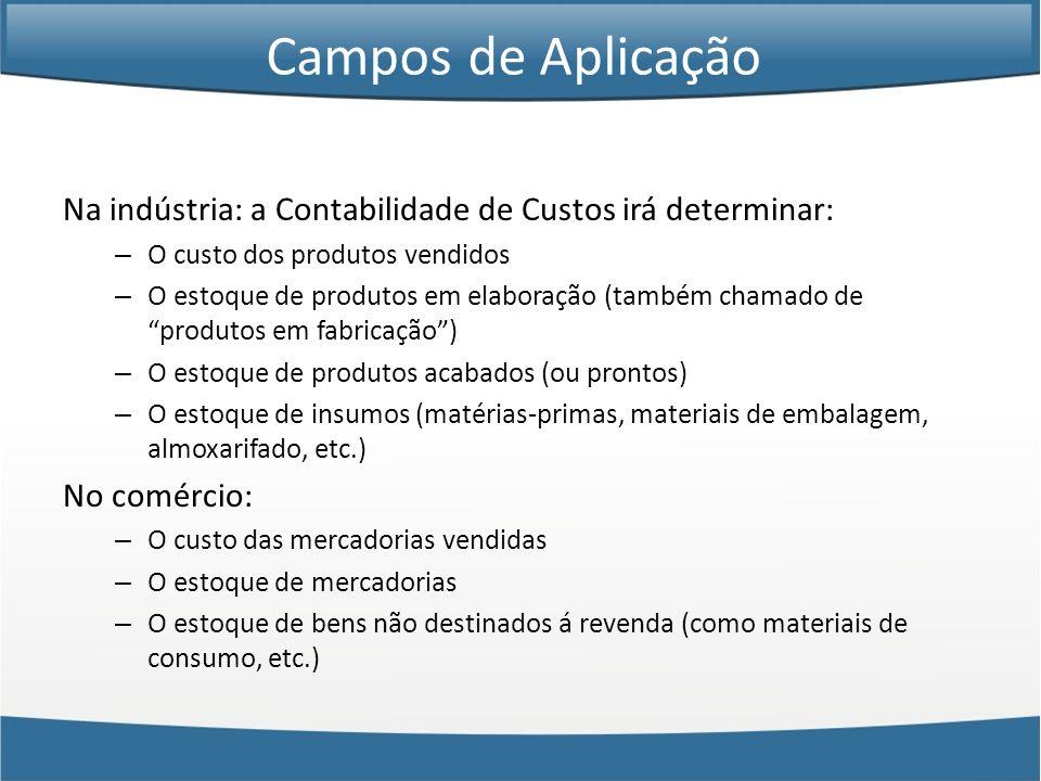 Campos de Aplicação Na indústria: a Contabilidade de Custos irá determinar: O custo dos produtos vendidos.