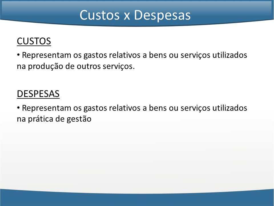 Custos x Despesas CUSTOS DESPESAS