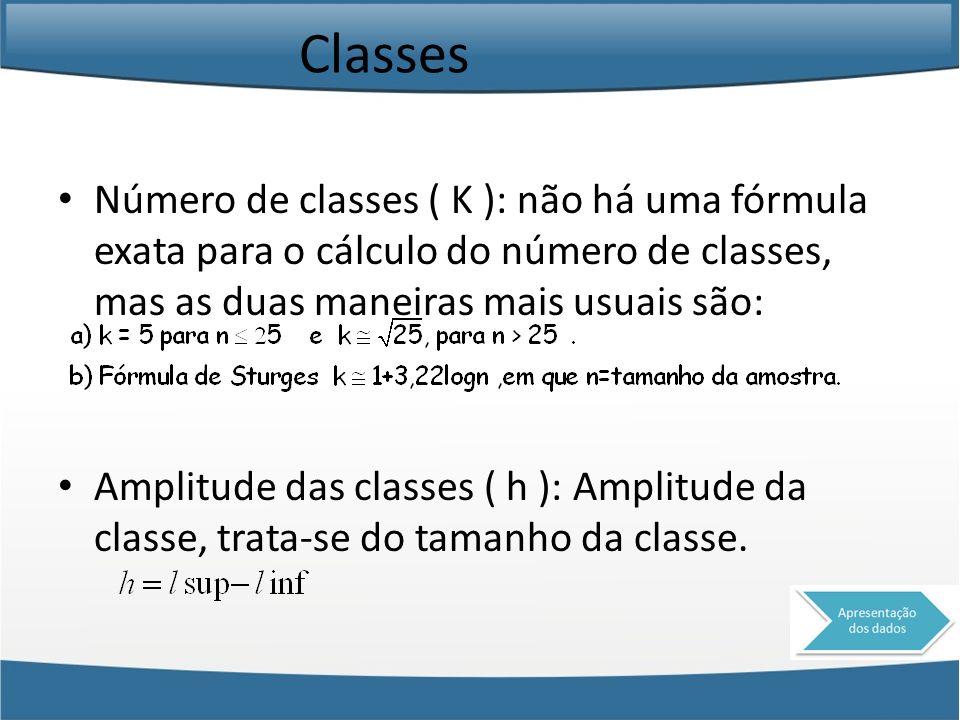 Classes Número de classes ( K ): não há uma fórmula exata para o cálculo do número de classes, mas as duas maneiras mais usuais são: