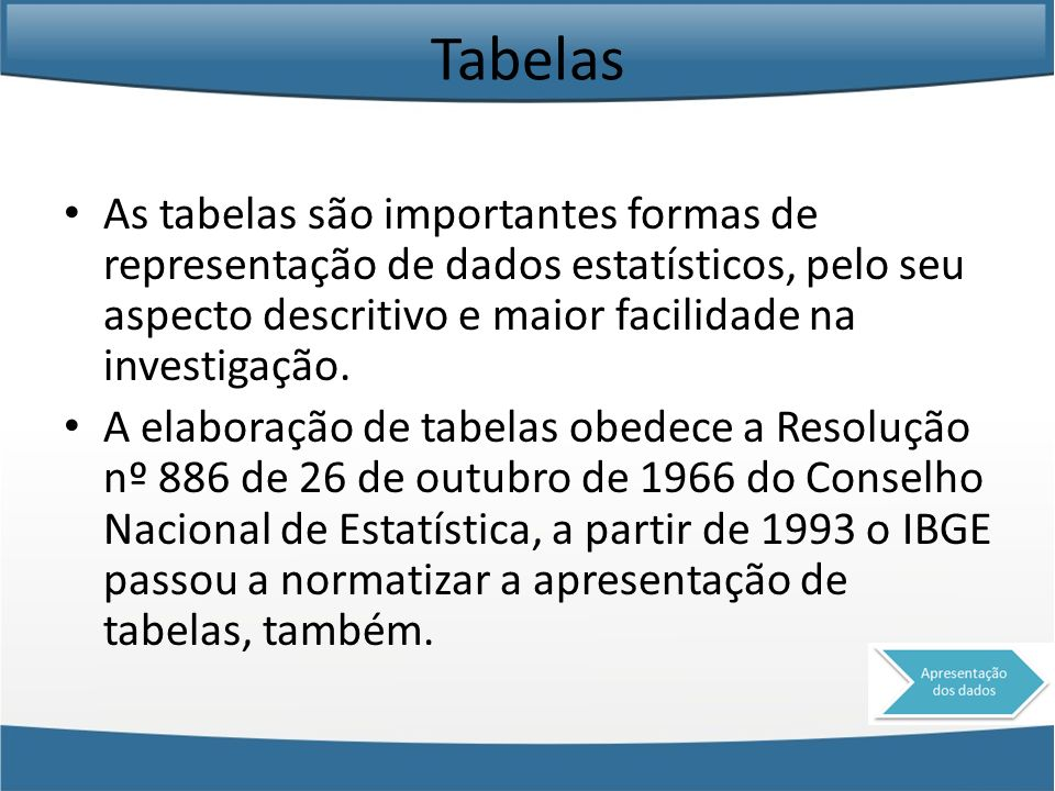 Tabelas As tabelas são importantes formas de representação de dados estatísticos, pelo seu aspecto descritivo e maior facilidade na investigação.