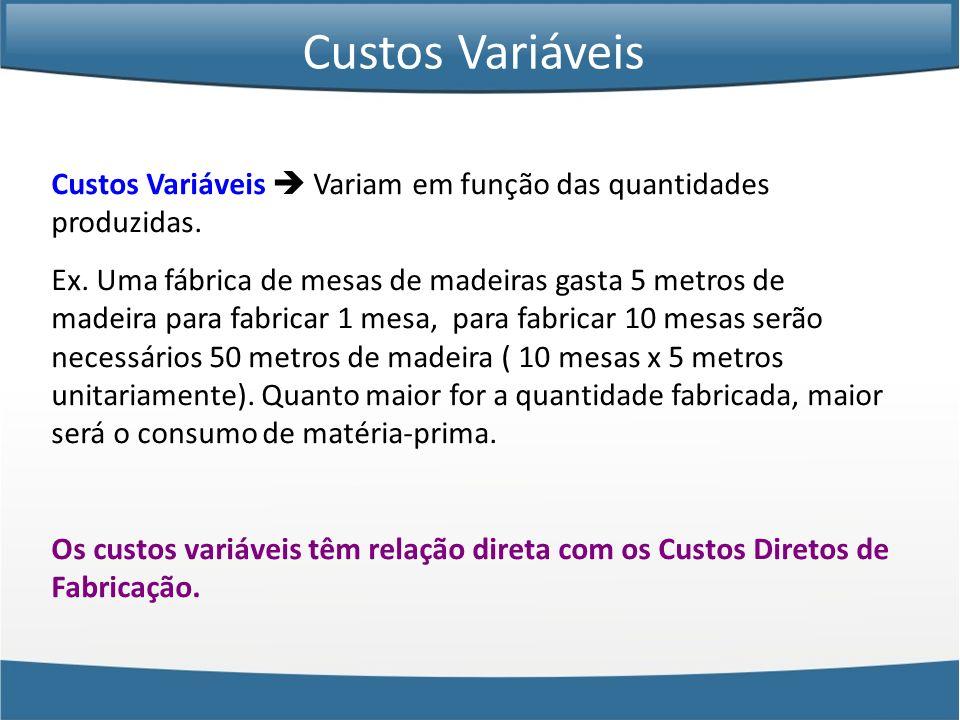 Custos Variáveis Custos Variáveis  Variam em função das quantidades produzidas.