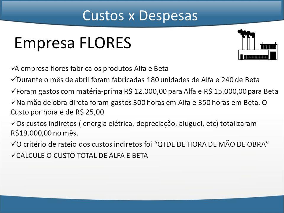 Empresa FLORES Custos x Despesas
