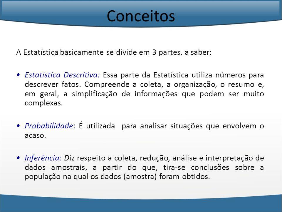Conceitos A Estatística basicamente se divide em 3 partes, a saber: