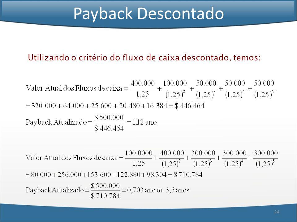 Payback Descontado Utilizando o critério do fluxo de caixa descontado, temos:
