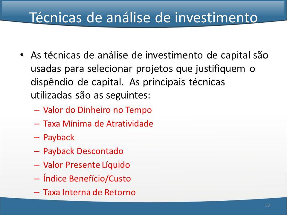Técnicas de análise de investimento