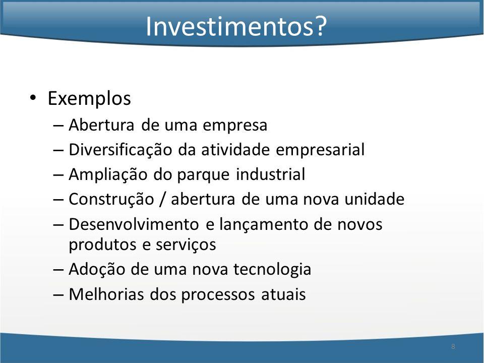 Investimentos Exemplos Abertura de uma empresa