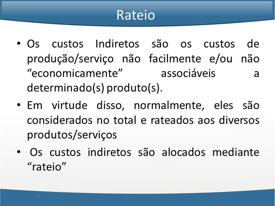 Rateio Os custos Indiretos são os custos de produção/serviço não facilmente e/ou não economicamente associáveis a determinado(s) produto(s).