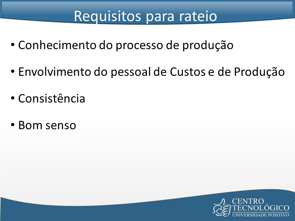 Requisitos para rateio