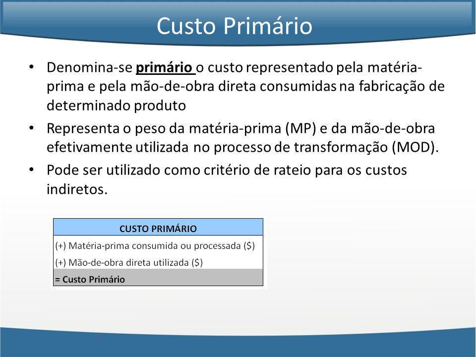 Custo Primário Denomina-se primário o custo representado pela matéria-prima e pela mão-de-obra direta consumidas na fabricação de determinado produto.