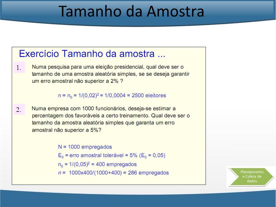 Tamanho da Amostra 1. 2.