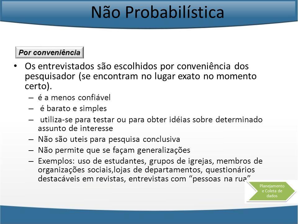 Não Probabilística Por conveniência.